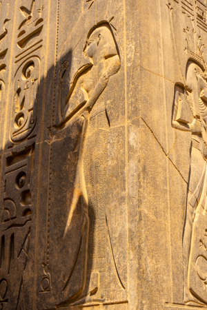Beautiful natural light on ancient Egyptian drawings inside the Luxor Temple, Egypt