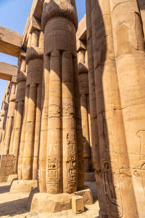 Precious columns with ancient egyptian drawings in Luxor Temple, Egypt 版權商用圖片