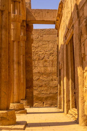 Precious columns inside the Egyptian Temple of Luxor. Egypt 版權商用圖片