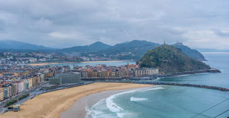 Panoramic view of the city of San Sebastian from Mount Ulia, Gipuzkoa. Basque Country