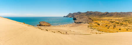 Panoramic of the Monsul beach of the Natural Park of Cabo de Gata, San Jose, Almeria. Spain