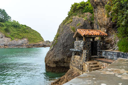 River mouth in the Ea municipality near Lekeitio, Bay of Biscay in Cantabria. Basque Country