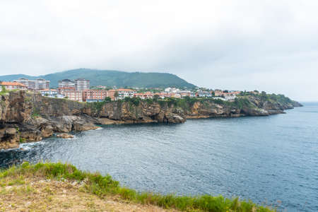 Coast full of houses of the Lekeitio municipality, Bay of Biscay in the Cantabrian Sea. Basque Country
