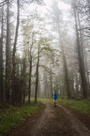 A young man walking with his son in the foggy forest. Spring on the path from Ispaster to Lekeitio, landscapes of bizkaia. Basque Country