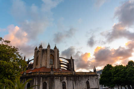 Sunset over the church of Lekeitio, Basque Country. Bay of Biscay. Spain