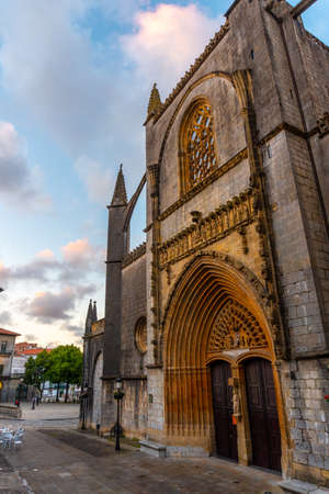 Sunset in the cathedral of Lekeitio, Basque country. Bay of Biscay. Spain