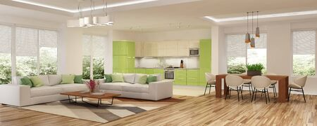 Interior de la casa moderna. Representación 3D.