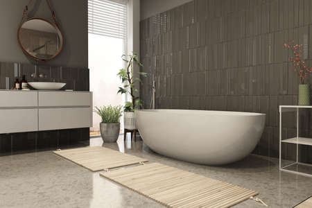 Modern bathroom interior with wooden decor in eco style Stock Photo