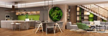 Modern interior of kitchen with living room Standard-Bild