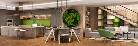 Modern interior of kitchen with living room Imagens