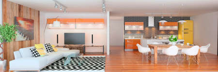 Modern living room with the kitchen Zdjęcie Seryjne
