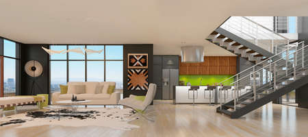 Modern living room with the kitchen