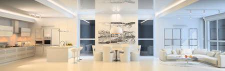 Modern living room with the kitchen Standard-Bild