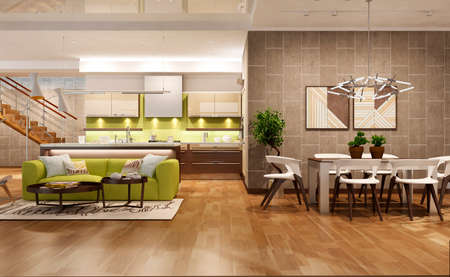 Modern living room with the kitchen Stock Photo