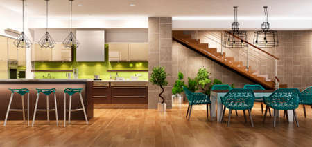 Modern interior of kitchen with living room