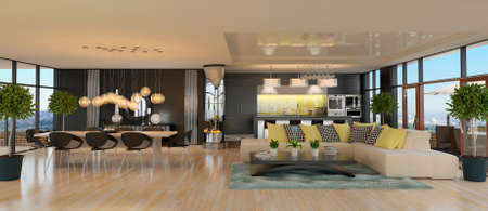 Modern interior of kitchen with living room. 3D Render
