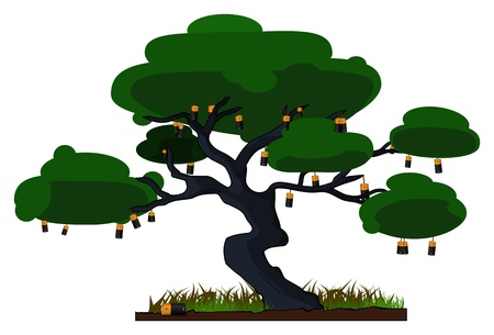illustration of a tree with batteries instead of fruit  Illustration