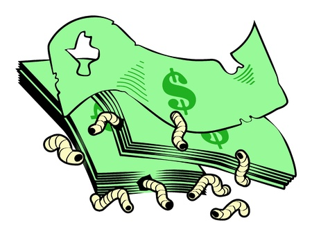 gold standard: Dollar notes being eaten by maggots  Illustration