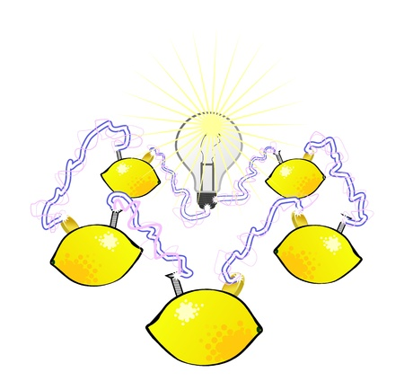 A lemon battery circuit powers a lightbulb  Illustration