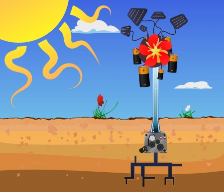 A  illustration of a mechanical plant that collects solar power and water with a  pump