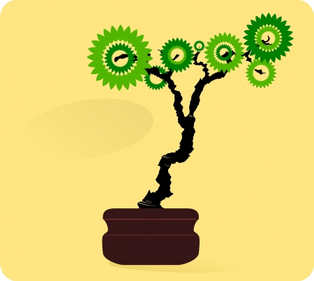 graphic of a bonsai tree with a background ready for a text insert