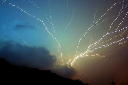 Storm lightning strikes photo