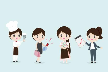Frauen mit verschiedenen Berufen, Unternehmen, Koch auf blauem Hintergrund isoliert