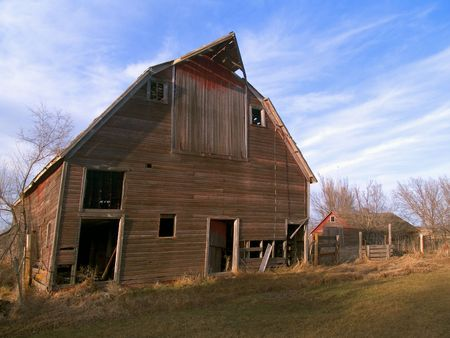 Old collapsing barn near Mitchell, South Dakoa Stock Photo - 2042254