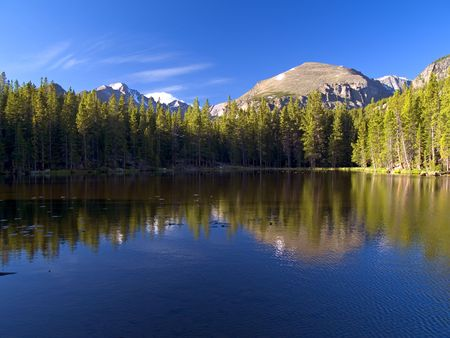 Nymph Lake and Longs Peak, Rocky Mountain National Park Imagens - 2042255