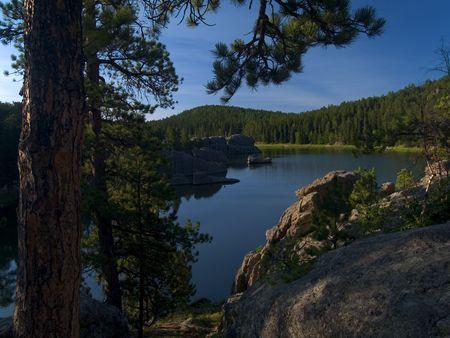 sylvan: Shade by the Lake: A summer morning at Sylvan Lake in the Black Hills of South Dakota.