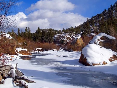 Freezing River & Blue Sky - Rocky Mountain National Park