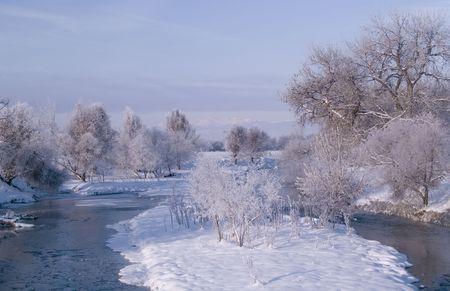 poudre river: Poudre River Winter Stock Photo