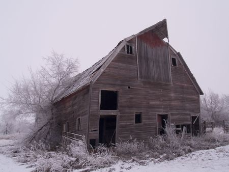 Frosted Falling Barn