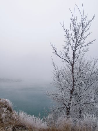Frost & Fog on the Missouri River - South Dakota Stock Photo - 2303542