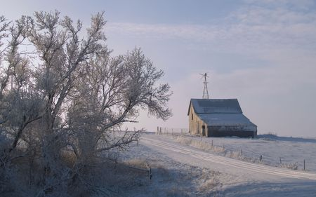 Rural Winter Morning - South Dakota photo
