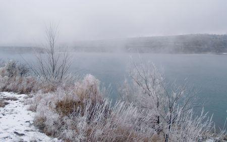 Foggy Winter River -  Missouri River in South Dakota. Stock Photo - 2319465