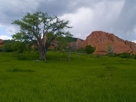 Red Rocks & Spring Rain -  Roxborough State Park Stock Photo