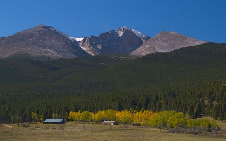 longs peak: Autumn begins underneath Longs Peak (elevation14,259 feet).