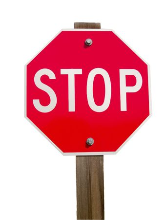 Stop Sign and Post - Isolated. Imagens