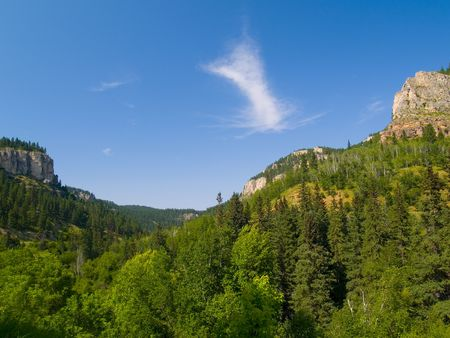 A late afternoon in summer in Spearfish Canyon in the Black Hills of South Dakota. Stock Photo