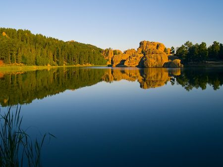 Early morning from the shore of Sylvan Lake in the Black Hills of South Dakota  photo