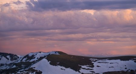 alpine tundra: Colorado sunset from the high alpine tundra of Trail Ridge looking out to the distant Gore Range