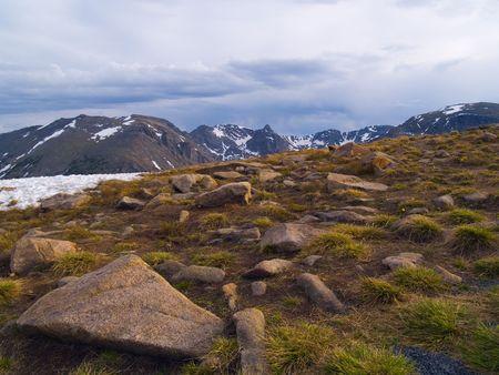 alpine tundra: Rain over the alpine tundra on Trail Ridge in Rocky Mountain National Park.