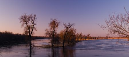 Spring flood on the James River in South Dakota