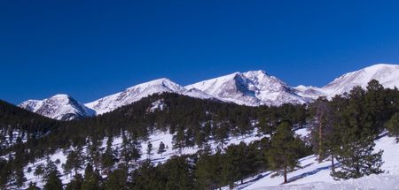 Four mountains on a winter day in Rocky Mountain National Park