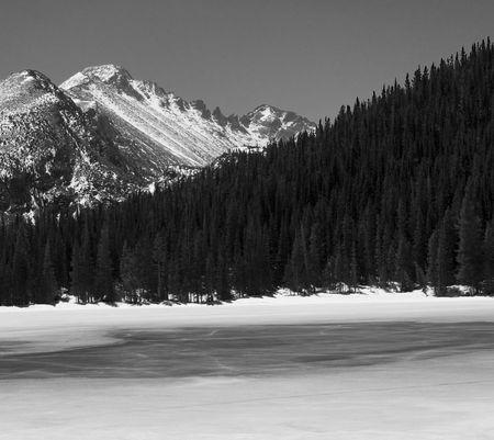 longs peak: Longs peak over icy, frozen Bear Lake in Rocky Mountain National Park