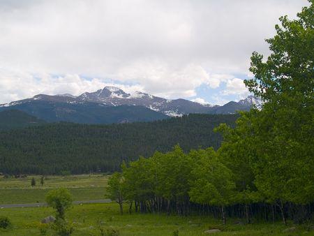 longs peak: Spring aspen trees below Longs Peak in the Rocky Mountains Stock Photo