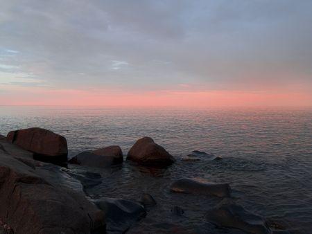 infinite pastel peach sunset on Lake Superior