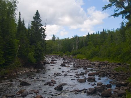 north woods: The Baptism river flows slowly through the North woods of Minnesota. Stock Photo