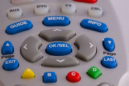 Universal television remote control close up image.